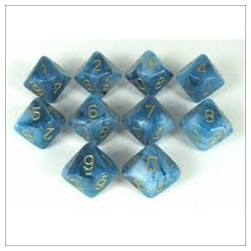 Dice and Gaming Accessories D10 Sets: Swirled - Phantom: D10 Teal/Gold (10)