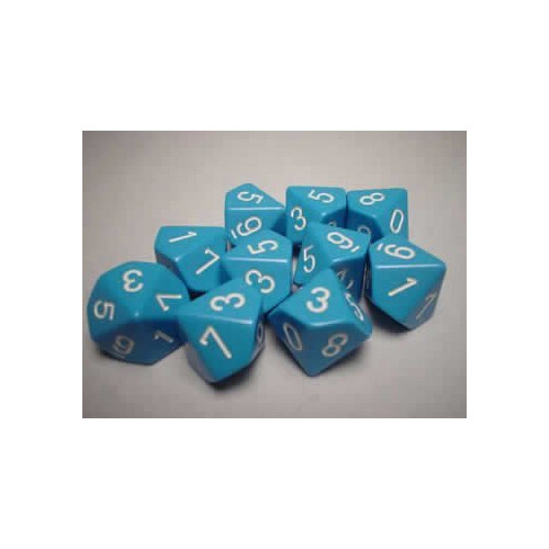 Dice and Gaming Accessories D10 Sets: Opaque: D10 Light Blue/White (10)