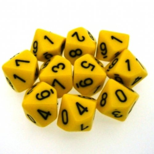 Dice and Gaming Accessories D10 Sets: Opaque: D10 Yellow/Black (10)