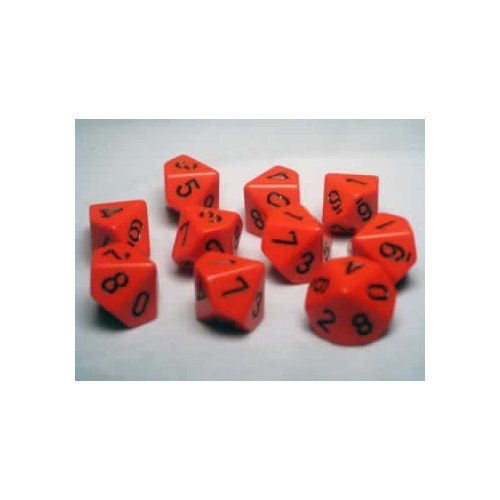 Dice and Gaming Accessories D10 Sets: Opaque: D10 Orange/Black (10)