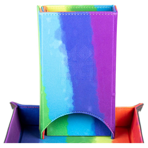 Dice and Gaming Accessories Dice Towers and Trays: Fold Up Velvet Dice Tower: Watercolor Rainbow