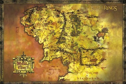 Posters: Lord of the Rings Middle Earth Map