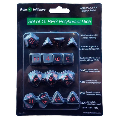 Dice and Gaming Accessories Polyhedral RPG Sets: Polyhedral: Opaque Black/Red (15)