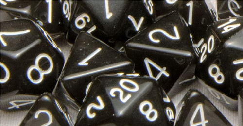 Dice and Gaming Accessories Polyhedral RPG Sets: Polyhedral: Translucent Black Smoke/White (7)