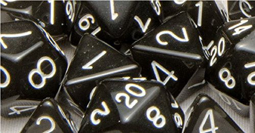 Dice and Gaming Accessories Polyhedral RPG Sets: Polyhedral: Translucent Black Smoke/White(15)