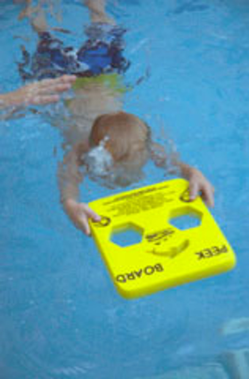 The final board in the series of 3, is the Peek Board.  It offers the lease bouyancy while still providing just enough to  make the child feel comfortable. After several repetitions of jumping in and swimming across the pool using the Peek Board, most children (and adults!) have to ability to swim without the board. They may not realize it yet, but once they have mastered the use of the Kickboard, Speedboard, and Peek board, they most likely will be able to swim across the pool independently.!   The Fast and Fun Swim System Works!