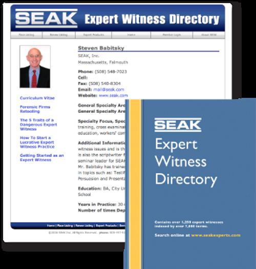 SEAK Expert Witness Directory Listing