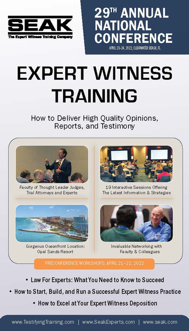 29th Annual National Expert Witness Conference, April 23-24, 2022, Clearwater Beach, FL