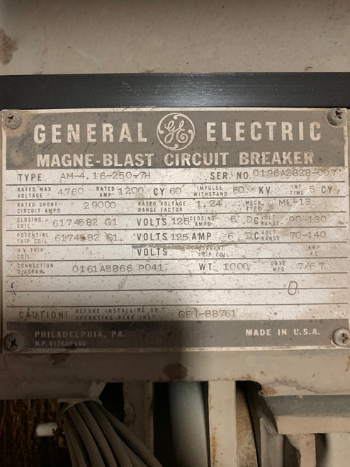 AM-4.16-250-7H GE Magne-Blast 1200A 4.76KV Air Circuit Breaker