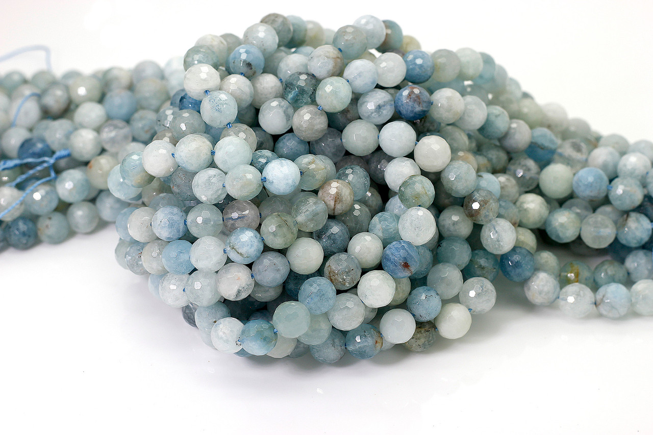 Grade A 10mm 8mm 14mm Natural aquamarine faceted round beads in full strands 12mm 6mm Full Strand 15.5 inch Strand