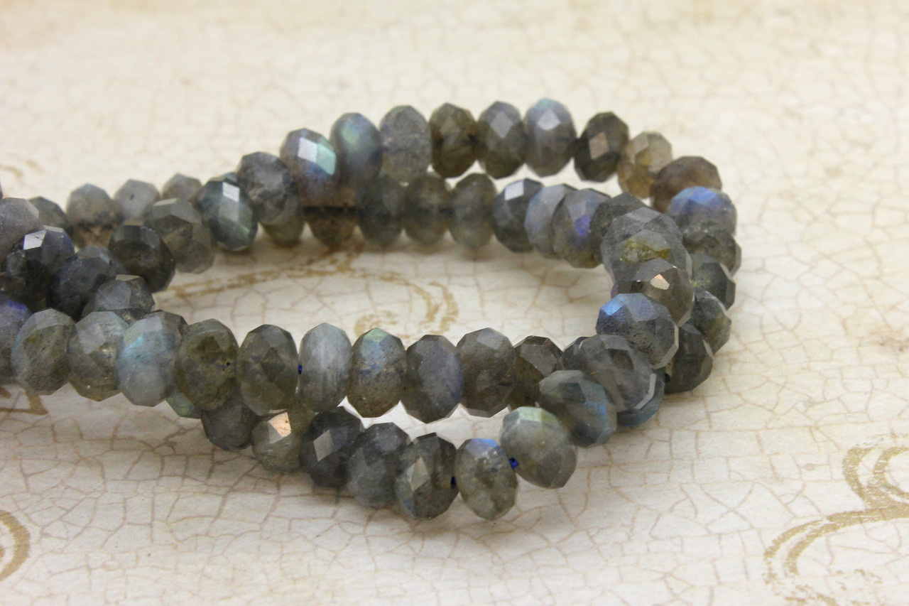 5-7mm Labradorite Smooth Rondelle Shape Beads Natural Labradorite Gemstone Beads Total 7 Strands of 26 Inches In The Lot SKU#154717