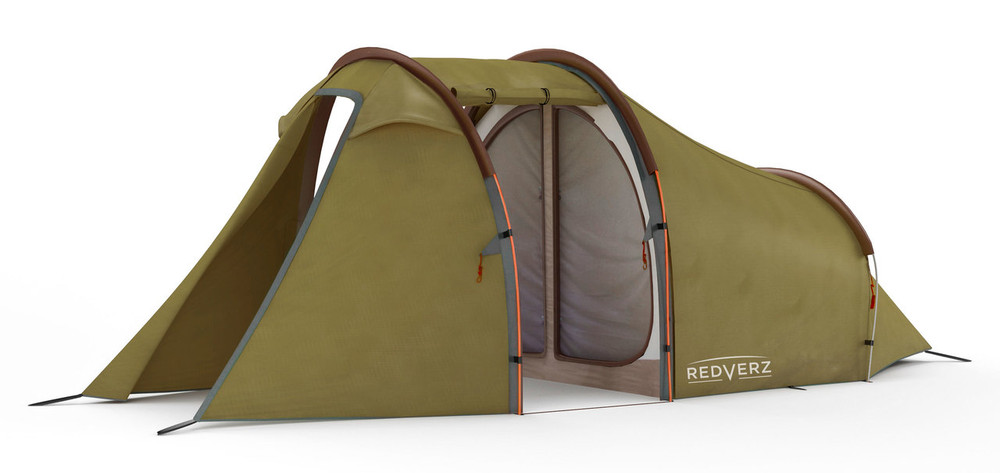 Redverz Motorcycle Tent - Atacama Expedition Tent, view with doors open, shows mesh screen to sleep bay.
