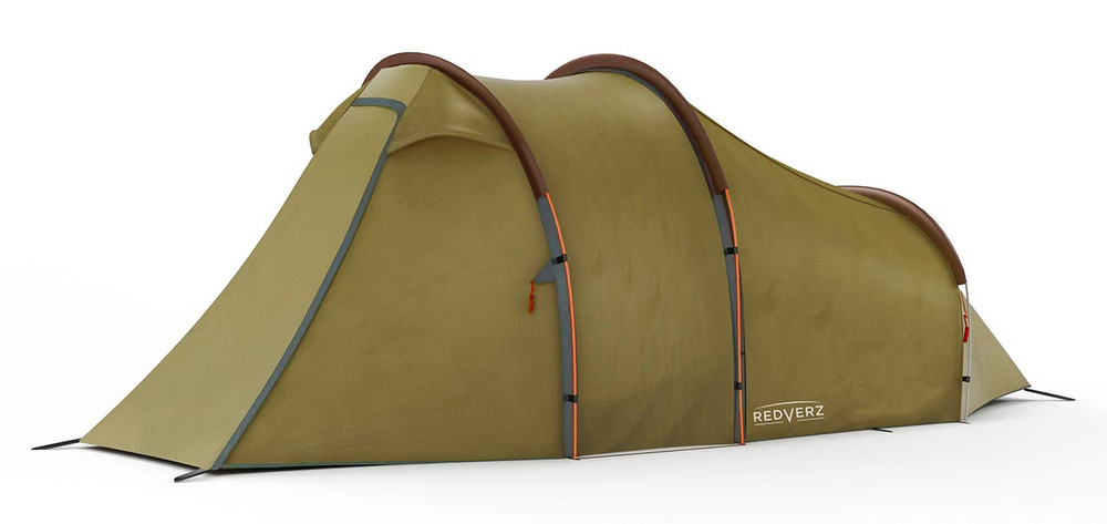 Redverz Motorcycle Tent - Atacama Expedition Tent, completely closed up, angled view.