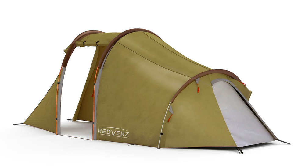 Redverz Atacama 3-person motorcycle tent, view with doors open, shows small entry door at sleep bay.