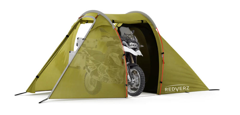 Redverz Motorcycle Tent - Redverz Solo with Bike in bay/lounge