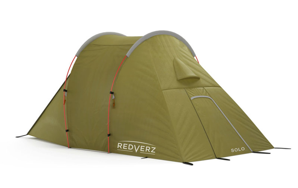 Closed Redverz Solo Motorcycle Tent, view of condensation vents.