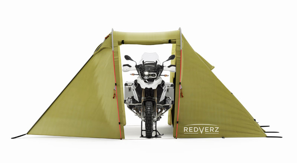 Redverz Motorcycle Tent - Solo Expedition Tent with BMW 1200GS Adventure in Garage Bay
