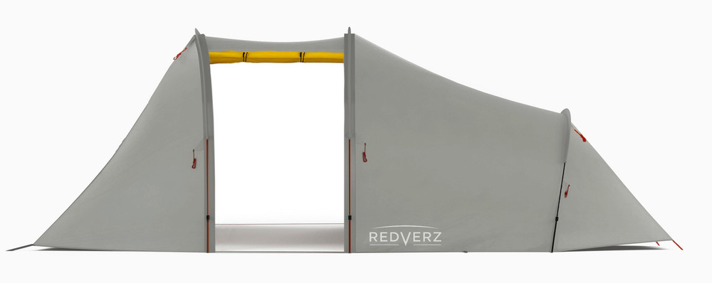 Redverz Atacama Expedition Motorcycle Tent in Yellow. Main garage doors open, fits full size adventure motorcycle or full bagger.
