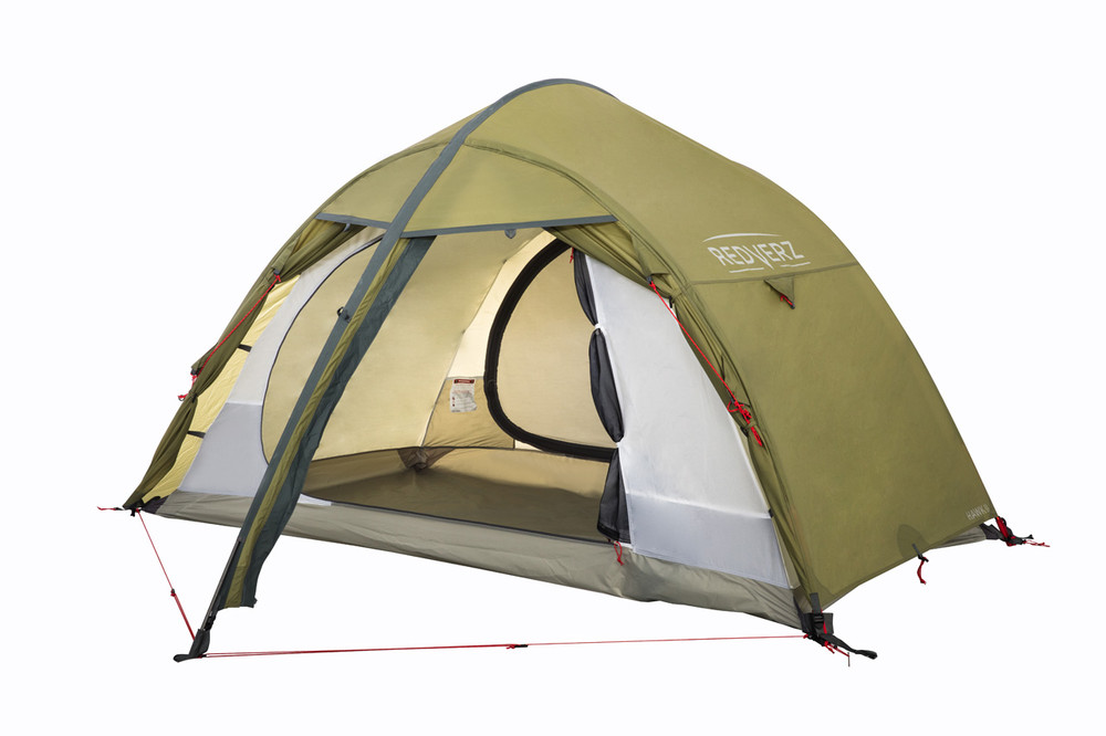 Redverz Hawk II Tent, view with doors partially open.