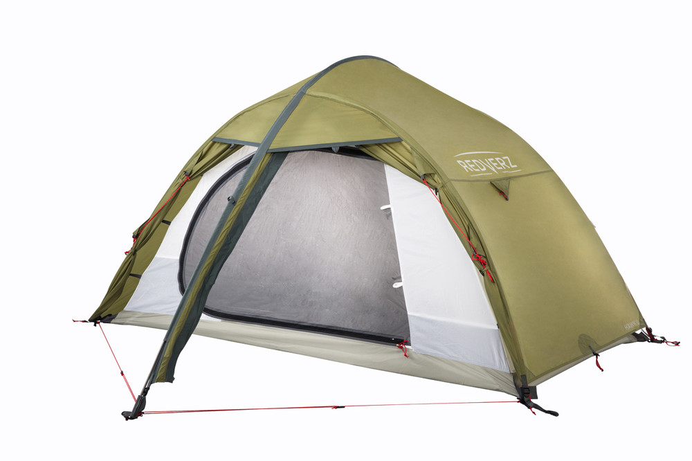 Angled view of the partially open Hawk II Tent from Redverz.