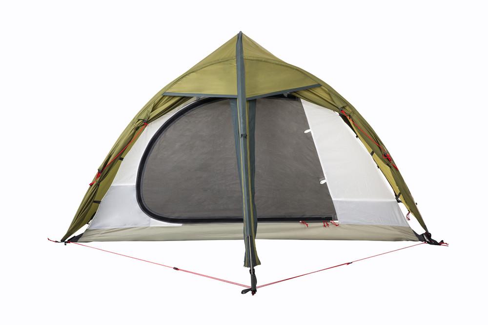 The Hawk II Tent from Redverz showing sleep area door mosquito mesh panel.