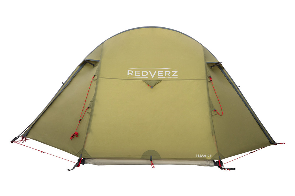 Hawk II Tent from Redverz.  Side view, doors closed.