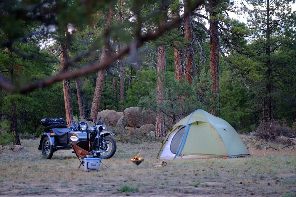 Motorcycle camping with The Hawk II by Redverz Gear.