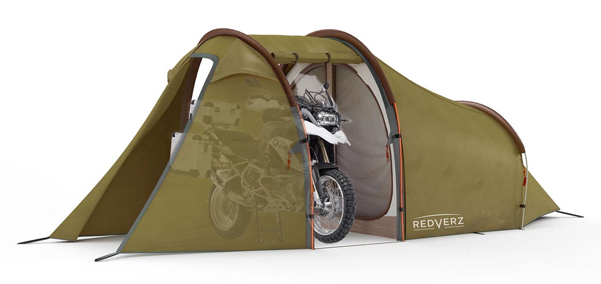 ... Redverz Motorcycle Tent - Atacama Expedition Tent in Green. Main garage  doors open 36bf2ad1bd6eb