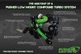Pusher Low Mount Compound Turbo System for 1998-2002 Dodge Cummins 24v Trucks