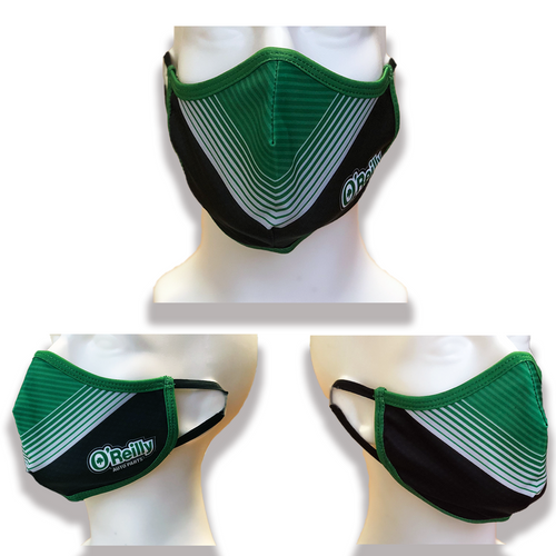 O'Reilly Black/Green Striped Face Mask