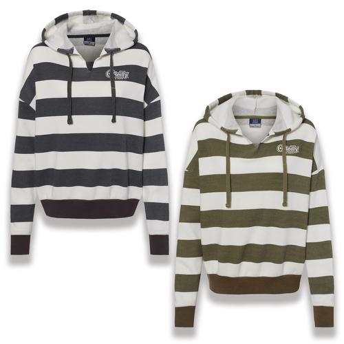Ladies Striped Fleece Hooded Sweatshirt
