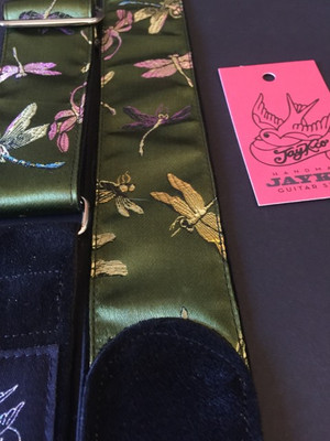 Dragonflies on Green Satin on Black Suede