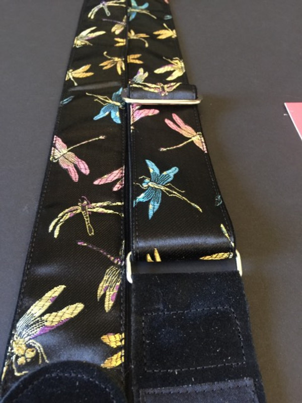 Dragonflies on Black Satin on Black Suede