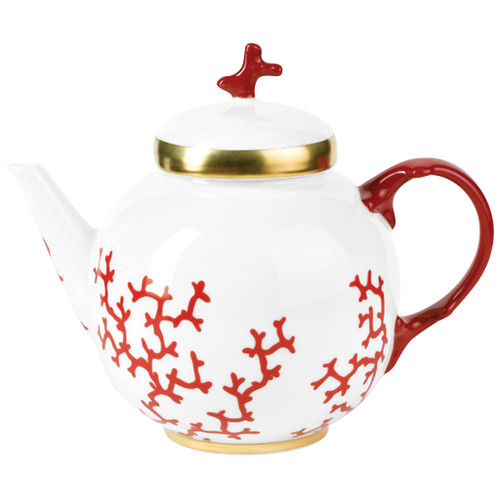 Tea Pot, 2 4/5 inch, 35 1/9 ounce | Raynaud Menton Cristobal - Coral