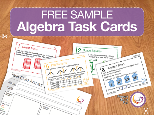 Front Cover image Free Sample Algebra Task Cards