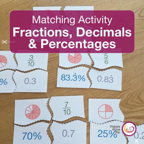 Fractions Decimals Percentages Matching Activity