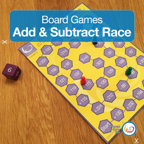 Add and Subtract Race Board Game