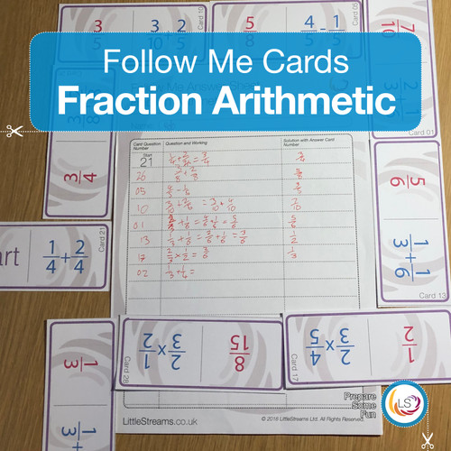Fraction Arithmetic Follow Me Cards Cover