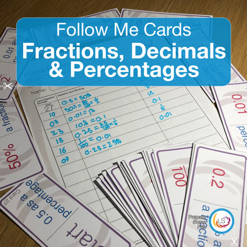 Fraction Decimal and Percentages Follow Me Cards Cover