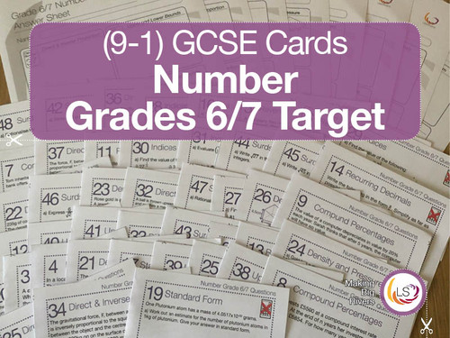 Number GCSE cards targeted to grade 6 and 7