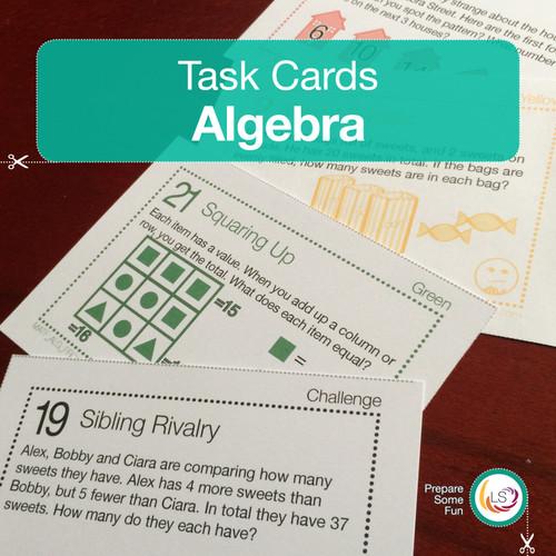Algebra Problems Task Cards Cover