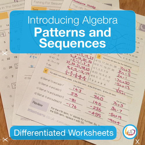 Patterns and Sequences Worksheets Cover