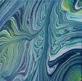 Fluid art with crisp lines of navy and light blues, paynes gray, deep violet, and lime green, is reminiscent of a trip down the Danube River.
