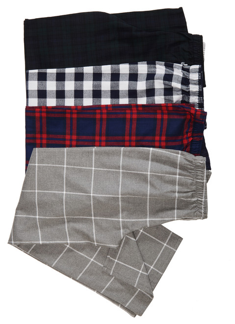 Our cozy Flannel Pajama Pant from top: black watch plaid, dress blues check, blue + red plaid and gray tattersall.