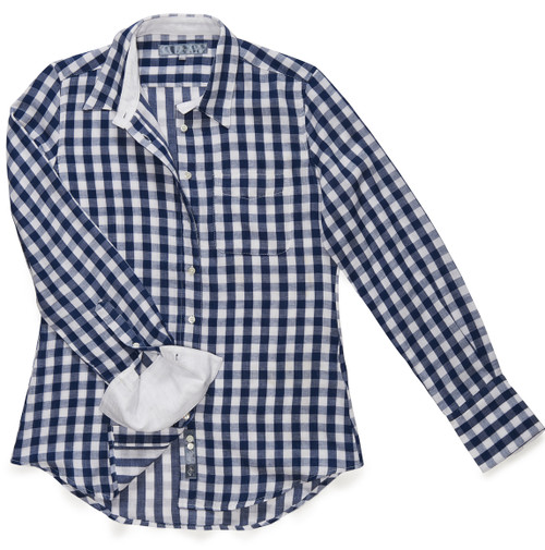 The Double Gauze Ivy in lapis blue gingham with cuffs and colors lined in solid white.