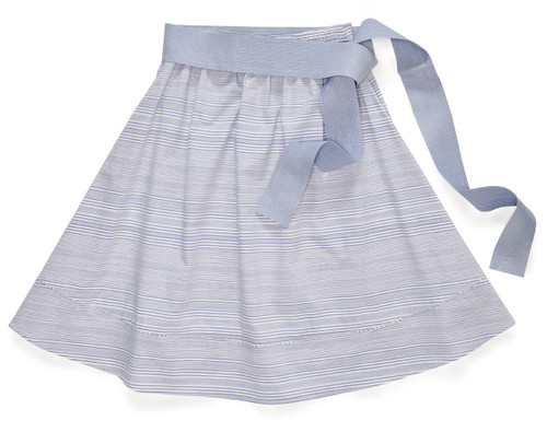 The Gathered Skirt in sailing stripe blue features an optional self-belt in a solid light blue hue.