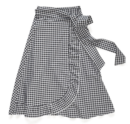 The Wrap Skirt in black + white gingham, an easy-care fabric that resists wrinkles.