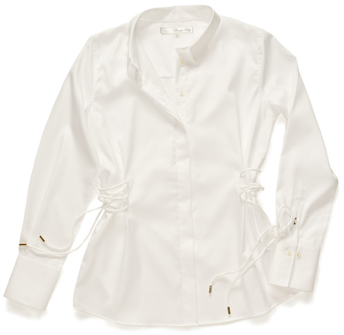 Our Side Tie Shirt is created with our easy-care, cotton pinpoint fabric.