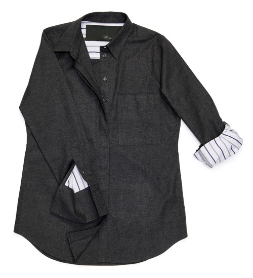 The Modified Boyfriend Shirt in charcoal gray flannel features sleeves lined with a lightweight white cotton pinpoint with dark blue stripes.