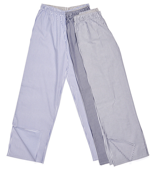 The Pajama Pant: Stripe Available in blue ticking (bottom), military blue stripe (middle), and jet stripe pinpoint (right).